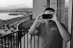 Taking a Photo of Me Taking a Photo of Him (Blue Rave) Tags: 2017 ca california sandiego bloke dude guy male mate people patio takingaphoto photographer bw blackandwhite bay water sandiegobay