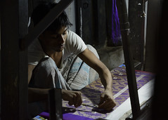 low light silk weaver in the silk quarters of Varanasi India (BooBoopdx) Tags: nikon d7100 afs dx 1685mm 3556 india travel color photography people faces weaver silk varanasi street low light