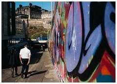 Colour Wall (Gingydadtog) Tags: class158 dmu dieselmultipleunit edinburgh graffiti passengertrain scotland scotrail street