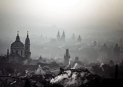Good Morning Prague (10000 wishes) Tags: prague city landscape dawn smoke blackwhite earlymorning