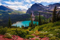 Emerald Magic! (Mohanram Sathyanarayanan) Tags: lake boat summer snow colors glacier national park long exposure vibrant wildflowers turquoise hike emerald low angle tree line grinnell swiftcurrent nps till glacial water glaciernationalpark