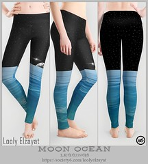 Moon-Ocean-Leggings (pharostores) Tags: leggings loolelzayat society6 fashion womenwear space outerspace stars blue black moon ocean