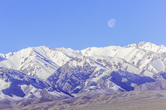 snow covered Tianshan mountain (Jixin YU) Tags: spring natural landscape nature water moon background china snow covered blue colorful beautiful travel color white sky earlier tianshan outdoor tourism xinjiang mountain