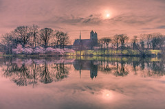 Over the water 彼岸 (kaising_fung) Tags: reflection calm water morning cherry spring sun lawn cathedral
