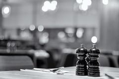 Black Or White. (sdupimages) Tags: dof bokeh monochrome hmbt mbt noirblanc nb bw blackwhite restaurant cuisine ustensiles sel poivre pepper salt