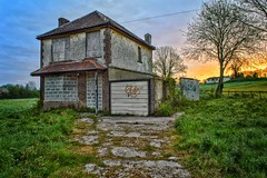 Abandoned House at Dawn #3 (Ashdon McFall) Tags: nikon d3200 perspective scene background orange sun clouds abode building forgotten nouse borded bricks tree morning blue sky dawn sunrise time old derelict abandoned house