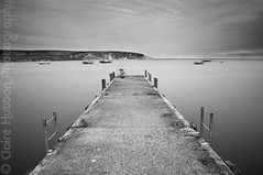 (Claire Hutton) Tags: uk longexposure sea blackandwhite bw water weather clouds contrast mono pier fishing cloudy jetty overcast rope cliffs dorset ladder swanage dull landslip ndfilter seacape ballarddown jurrasiccoast 10stop nd110 bw110 nikond90