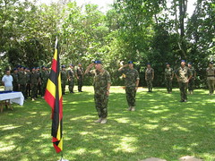 EUTM personnel render honors to the flag (European External Action Service - EEAS) Tags: operations missions somalia eeas eutm csdp