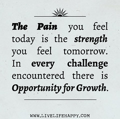 """The pain you feel today is the strength you feel tomorrow. In every challenge encountered there is opportunity for growth."" (deeplifequotes) Tags: opportunity for is pain you feel growth every there strength tomorrow today challenge the in encountered"