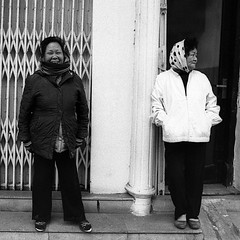 .. (robbie-69) Tags: street ladies blackandwhite black smiling sisters scarf happy photography asia head vietnam maybe trousers hanoi bwfilm filmphotography selfproccessed blackandwhitefilmphotography