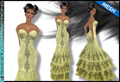 Mesh Tiered Lace Mermaid Gown in Cappucino (Sweet Distractions) Tags: life mesh sweet lace sl bridesmaid second gown mermaid rigged distractions