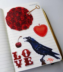 Raven's Love : ) (Milagritos9) Tags: red cherry heart sketchbook visualjournal crow corazón redflower redroses birdportrait cereza mily artistjournal visualdiary milagritos rosasrojas birdillustration birdcollage illustratedjournal moleskinejournals artmoleskine moleskineartwork lovekey birdjournal inspirationaljournal milycha diarioilustrado pájaroillustración agendailustrada moleskineartpages lallavedelamor ravenillustration ravenportrait dibujocuervo cuadernoillustrado ravenjournal
