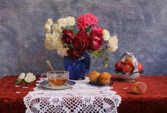 Charms of the Game (Esther Spektor - Thanks for 4 millions views..) Tags: pink flowers blue red roses stilllife orange brown white color reflection green art texture cup glass lea