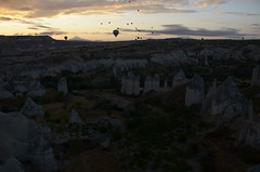 "Hot Air Balloon Trip with ""Butterfly Balloons"" at Goreme, Cappadocia (SpirosK photography) Tags: clouds sunrise turkey landscape inflight turkiye flight fromabove cappadocia  hotairballooon      butterflyballoons"
