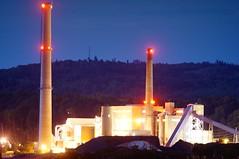 Power plant (rexp2) Tags: industry night greatlakes smokestack powerplant coal lakesuperior sonynex5n leicaleitztelyt200mmf4520cm vacation2013fall