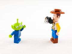 Lego Alien and Woody (wwarby) Tags: slr toy toys lego toystory character small woody olympus indoors whitebackground digitalcamera e3 figurine zuiko lighttent digitalslr minifigure 50mmmacro zuikodigital olympuse3