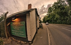 Wagons, horses and the long and winding road (aistora) Tags: road old uk trees england sky horses distortion color colour green english beer clouds river wagon landscape reading countryside town pub inn day village suburban cloudy britain twyford sony traditional curves wide ale style wideangle historic fisheye british tradition scape toned 8mm berkshire effect bushes tone draft loddon lightroom deformation nex locality thamesvalley tonemapped samyang maistora 5r oldbathroad oloneo yahoo:yourpictures=weather