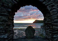 TP Week 33: Beginning (manxmaid2000) Tags: pink blue sunset sky cloud reflection heritage history beach water silhouette start evening seaside ancient well shore isleofman begin manx origin iom founded porterin braddahead stcatherineswell