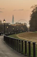 The Shard and London Eye from Hyde Park . (Gordon Haws) Tags: londoneye hydepark shard gaslamps theshard sonyalpha7