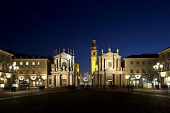 Piazza San Carlo (Matteo Selva) Tags: blue sky night torino san time churches piemonte carlo piazza piedmont piazzasancarlo sancarlo chiese orablu bluetime