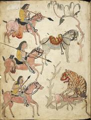Serat Damar Wulan. ('The Romance of Damar Wulan'). - caption: ''Pemburuan' - Hunter. A hunting scene. Three riders approaching a tiger.'