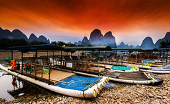 Yangshuo_5 (Santo(Thanks for 2 Million++views!!)) Tags: china blue trees sunset sky mountains nature water colors stone clouds rural river landscape lights evening bay daylight boat colorful asia nightscape natural bokeh stones guilin yangshuo scenary cruse d800 autofocus riverli mygearandme mygearandmepremium photographyforrecreation