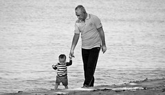 Oldman and His Grandson (mf kamaruddin) Tags: family beach water day walk grandfather grandson malaysia stroll malacca