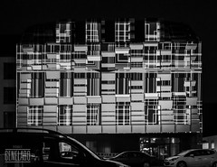 bricks 3D in BW (genelabo) Tags: sana videomapping münchen sendling plinganserstrase crushed eyes projection visuals klinik krankenhaus hospital building bw monochrome sw schwarzweiss blackwhite architecture munich black white passion award