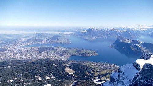 View from Mount Pilatus to Central Switzerland and Lake Lucerne