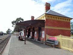 Maldon railway station. Now only used for tourist steam trains to Castlemaine. (denisbin) Tags: maldon railwaystation granite rock kookaburrarock kookaburra churcg baptist welshbaptist pickets fence