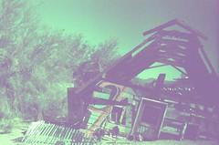 Leaning in East Jesus (that's keen) Tags: film slidefilm analog crossprocessing crossprocessed expiredfilm pentax pentaxspotmatic asahipentaxspotmatic kodakelitechrome salvationmountain