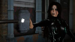 Hela Time (alexandriabrangwin) Tags: alexandriabrangwin secondlife 3d cgi computer graphics virtual world photography thor ragnarok hela female villain goddess death asgard marvel universe comic book film cate blanchett stopped mjolnir flying holding goth outfit