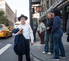 Hasidic Boy (UrbanphotoZ) Tags: hasidic boy whiteshirt hat jacket potatiochips water dietcoke capitalone women man pedestrians street amsterdamave taxis bus upperwestside manhattan newyorkcity newyork nyc ny
