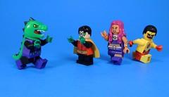 ROAR!!! (MrKjito) Tags: lego minifig dc comic comics super hero teen titans beast boy robin starfire kid flash rebirth roar its just prank bro