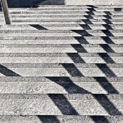 Stairs No 5 (llawsonellis) Tags: outdoors stairs shadows concrete shadowpatterns graphic rhythms line lines linear texture square squareformat urban crop abstract selection minimal zigzag repetition nikon nikond5300