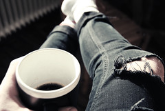COFFEE (Father stretch my hands) Tags: coffee cafe jeans ripped black white legs watch breakfast früh tasse cup tea knee adidas socks wood wooden floor hands feet