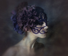 An Unremitting Sorrow (Spoken in Red) Tags: sorrow sadness melancholy sadwoman womanportrait portraitphoto portrait blue purple mask crownofflowers flowersinhair paleskin emotiveportrait expressiveportrait fineartportraitphotography spokeninred