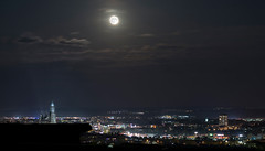 """Moon over my Hometown"" (helmet13) Tags: d800e raw nocturne night moon ulmminster city citylights longexposure clouds sky wind silence aoi heartaward peaceaward 100faves world100f"