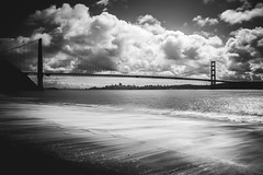 Battery Kirby Beach (Jeke's Photos) Tags: beach sanfrancisco blackandwhite bw bridge goldengate water shore
