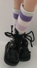 Short Socks...Shades Of Purple, White and Aqua Stripes For Blythe...