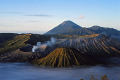 View over Bromo Tengger Semeru National Park (Thomas Roland) Tags: nikon f301 kodachrome 64 bromo tengger semeru national park indonesia travel summer morning morgen view udsigt mountain volcano vulkan bjerg asia landscape landskab landschaft