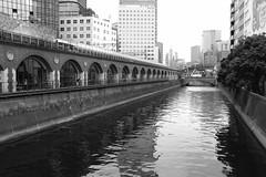 Riverside at Akihabara (Kiyorl Zeiss) Tags: tokyo japan akihabara bw monochrome river brick x100 x100f fujifilm blackandwhite acros