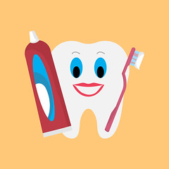 tooth-with-brush-and-paste (brucemurdock) Tags: toothpaste tooth toothbrush dentistry dentist illustration dental health healthy