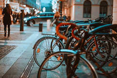 (•:*´¨`*:•.☆Diℓeyℓα ☆•:*´¨`*:•) Tags: bycicle street night cityscape lookslikefilm dof nikon hungary 50mmf14 urban citykillerz downtown