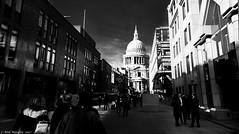 "shekels and shadows, ""the city of london"". (Neil. Moralee) Tags: londonneilmoralee london street shadow dark sunlight low sun black white mono monochrome blscksndwhite pauls st saint catherdral building architecture historic iconic neil moralee nikon d7100 bold people candid city finance bank banker money 18300mm zoom walk walking"