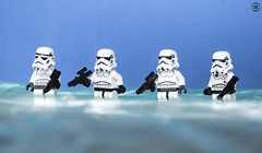 Beach Troopers (jezbags) Tags: lego legos star starwars wars legostarwars toys toy canon60d canon 60d 100mm closeup upclose macro macrophotography macrodreams macrolego stormtrooper stormtroopers troopers rogue one rogueone beach sea water blue white black sky