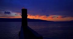 Purple promenade in Cres _MG_6626m4(1) (maxo1965) Tags: cres island croatia hrvatska sunset seaside promenade purple lighthouse sea clouds mediterranean