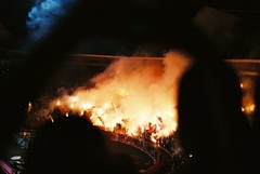 (Nothing is surrender) Tags: football foot stadium beograd derby derbi crvenazvezda partizan supporter fan piro fire smoke hooligan serbia srbija nikonf90 nikon f90 redstar