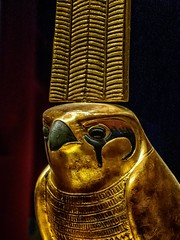 Closeup of Standard of Sopdu the falcon god who watched over Egypt's Eastern Desert New Kingdom 18th Dynasty Egypt 1332-1323 BCE (mharrsch) Tags: figure figurine sculpture statue pharaoh king ruler tutankhamun burial tomb funerary 18thdynasty newkingdom egypt 14thcenturybce ancient discoveryofkingtut exhibit newyork mharrsch premierexhibits gold sopdu falcon standard