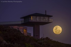 The Iconic House On A Pole Great Ocean Road (Lachlan Manley Photography) Tags: unusualhouse cliff ocean greatoceanroad moonrise fullmoon nightphotography